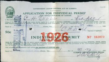 Red Deer Archives, DA407; Individual liquor permit, 1926