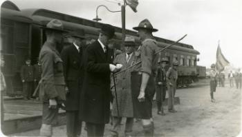 Red Deer Archives, P2224; Scoutmaster Callender receives the medal of merit from Governor-General the Earl of Bessborough, 1932