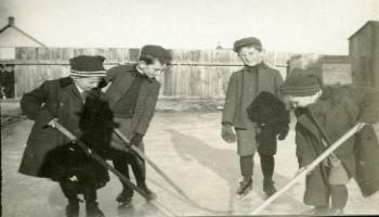 Red Deer Archives, P2799; Boys playing hockey, ca. 1915