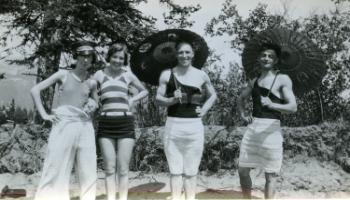 Red Deer Archives, P393; Men and women posing in swimsuits, 192?