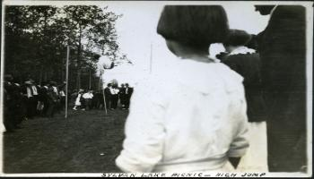 Red Deer Archives, P411; Pole vault event at Sylvan Lake picnic, 1925