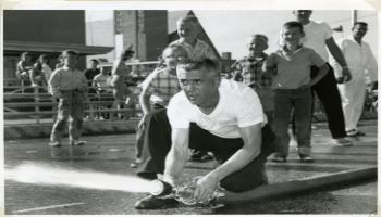 Red Deer Archives, P4663; Red Deer Fire Department in Provincial Fire Hose Coupling competition, 1962