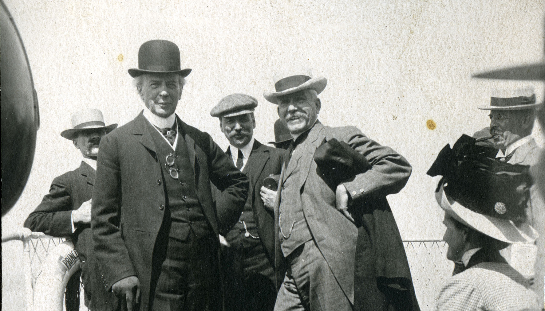 Prime Minister Sir Wilfrid Laurier and colleagues on board a Grand Trunk Pacific steamship, ca. 1910
