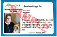 photo of sample Service Dog identification card