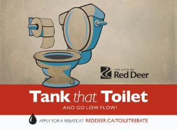 Sketch of a toilet with the words Tank that Toilet and go low flow