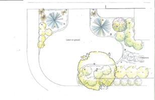 Top view of a front yard designed using naturescaping principles