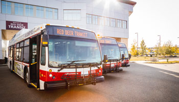 Transit buses line up at Civic Yards
