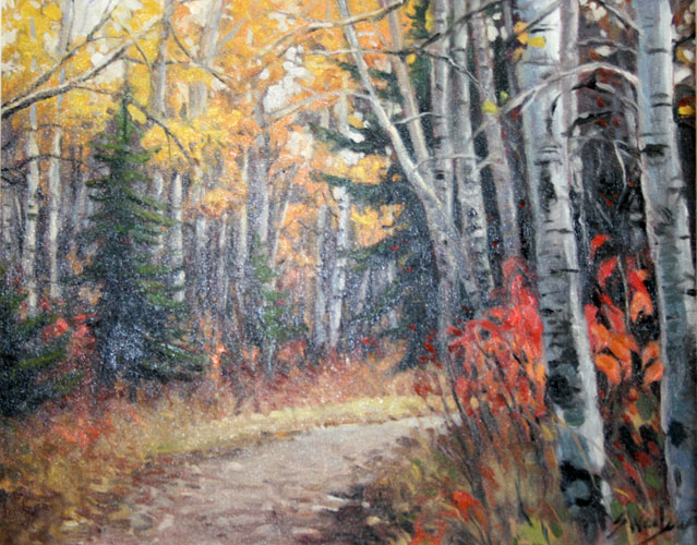 Paiting of a dirt path going through the tress in the fall.