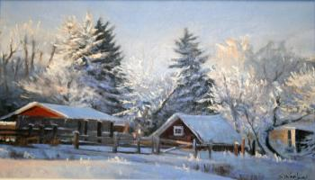 Painting of a farm yead in the winter with the barns and trees covered in snow.